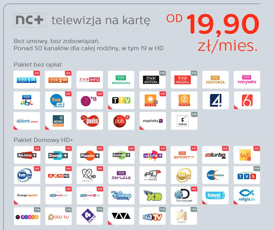 nc plus na karte Pakiet domowy HD Telewizja na Karte NC 3 miesiące zasilenie