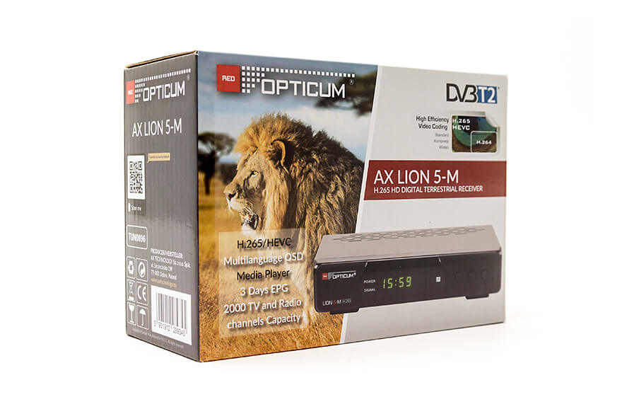 Opticum AX Lion 5-M DVB-T2 H.265 - коробка